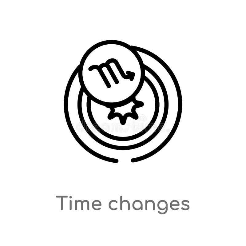 ic?ne de vecteur de changements de temps d'ensemble ligne simple noire d'isolement illustration d'?l?ment de concept de zodiaque  illustration stock