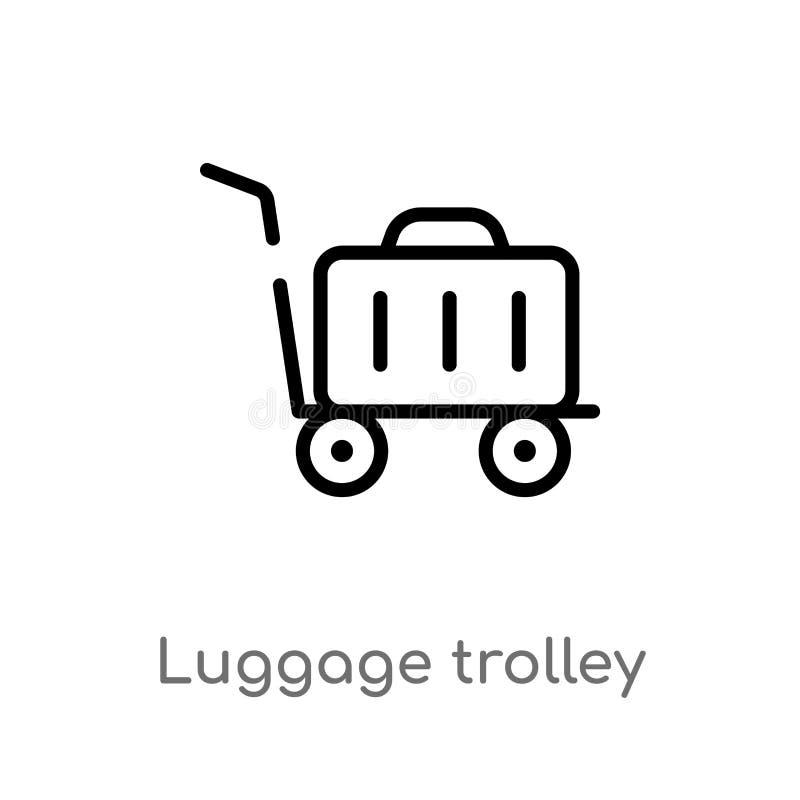 icône de vecteur de chariot à bagage d'ensemble ligne simple noire d'isolement illustration d'?l?ment de concept de terminal d'a? illustration de vecteur