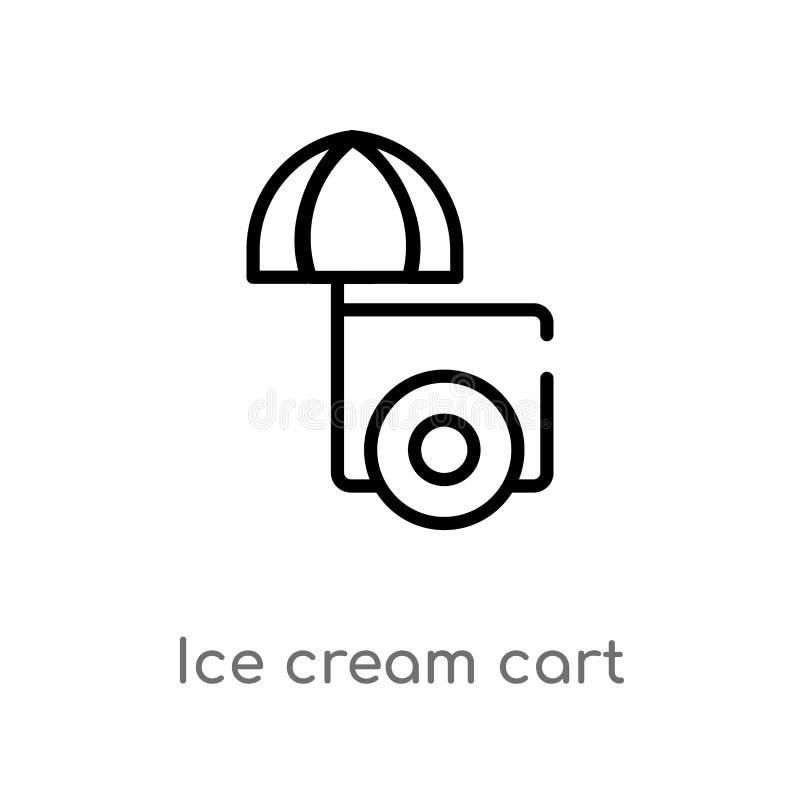 icône de vecteur de chariot de crème glacée d'ensemble ligne simple noire d'isolement illustration d'élément de concept de saison illustration de vecteur