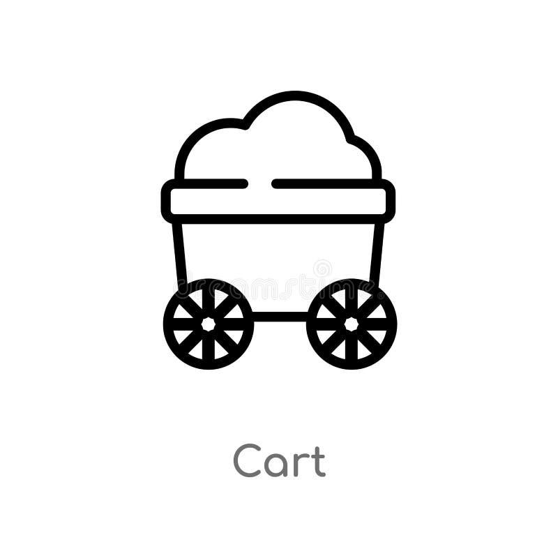 icône de vecteur de chariot d'ensemble ligne simple noire d'isolement illustration d'élément de concept d'histoire icône editable illustration stock