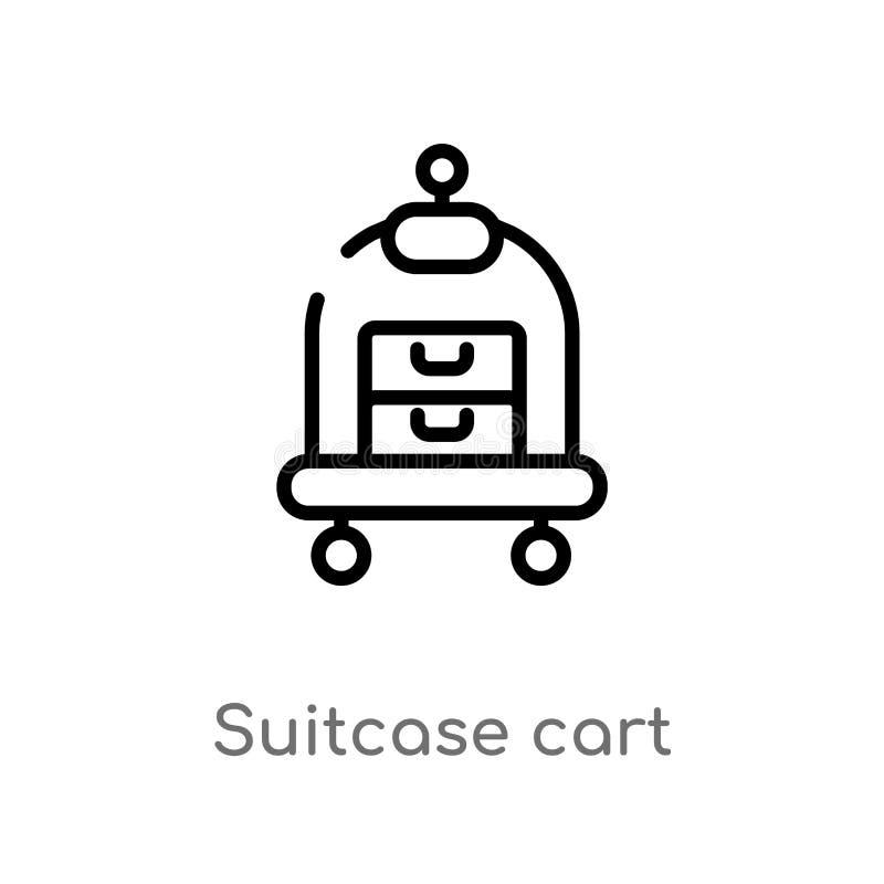 icône de vecteur de chariot de valise d'ensemble ligne simple noire d'isolement illustration d'élément de concept de transport Co illustration libre de droits