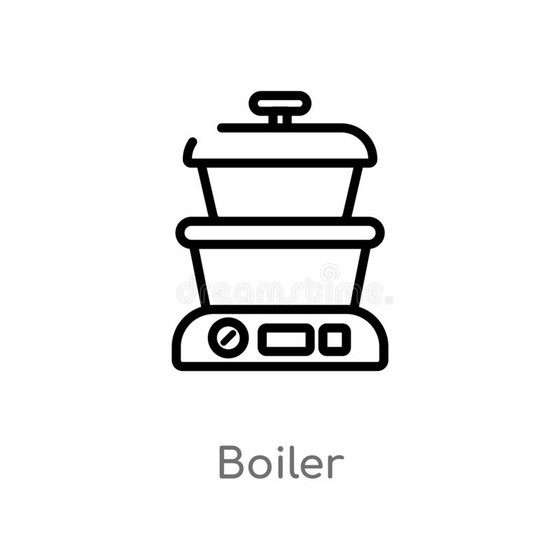 icône de vecteur de chaudière d'ensemble ligne simple noire d'isolement illustration d'élément de concept de nourriture icône edi illustration stock