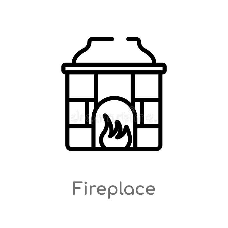icône de vecteur de cheminée d'ensemble ligne simple noire d'isolement illustration d'élément de concept de meubles Course Editab illustration libre de droits