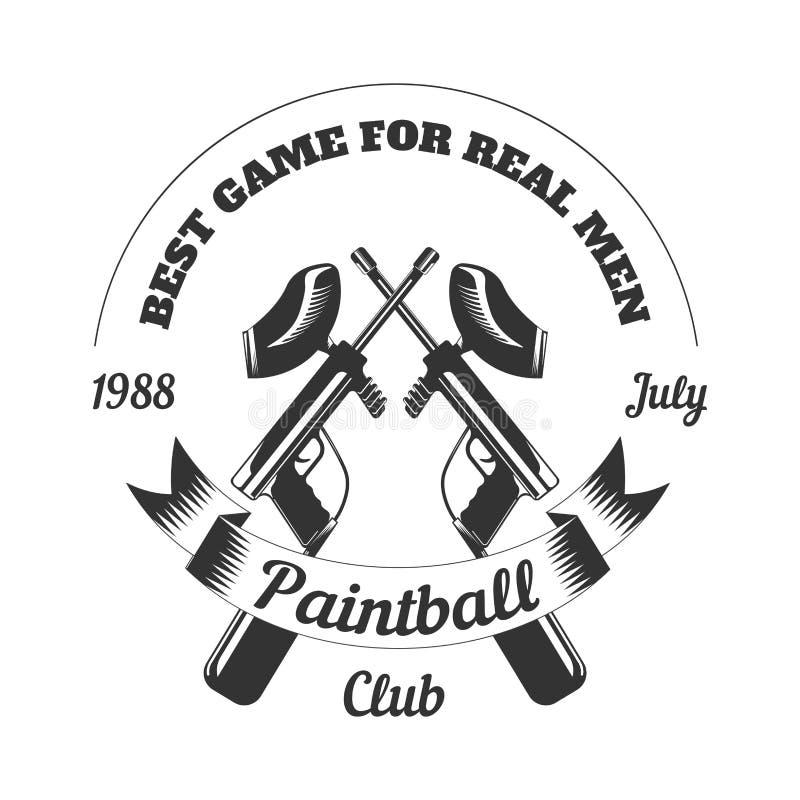 Icône de vecteur de cible de masque d'arme à feu de fusil de boule de peinture de jeu de sport de club de Paintball illustration stock