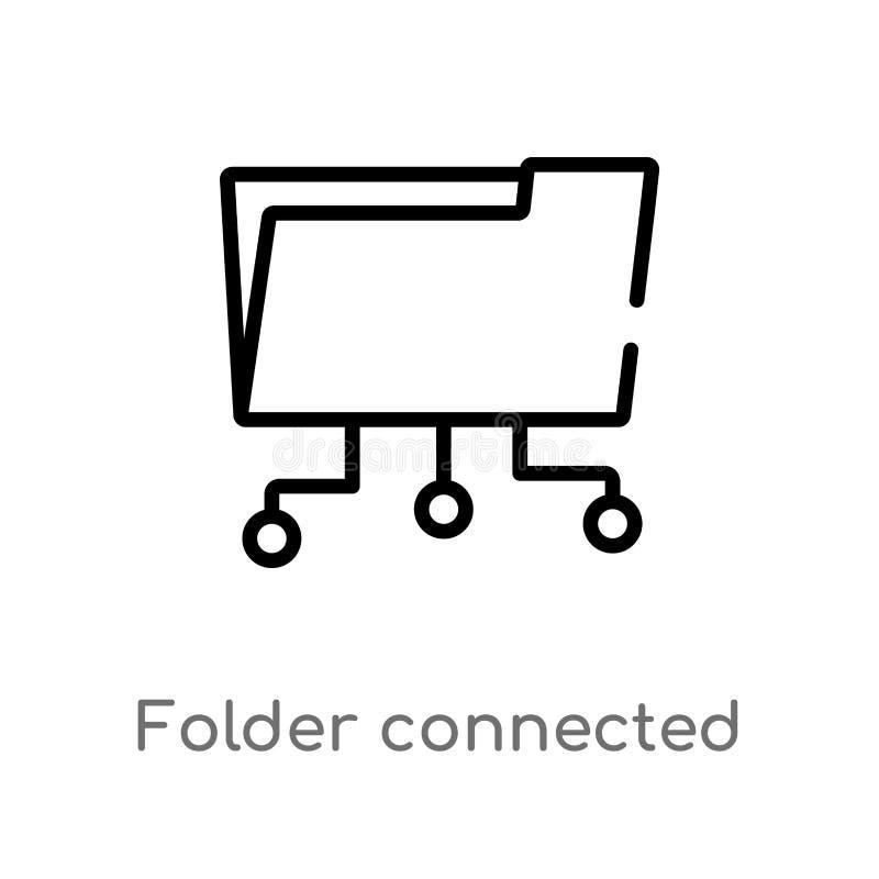 icône de vecteur de circuit reliée par dossier d'ensemble ligne simple noire d'isolement illustration d'élément de concept d'ordi illustration de vecteur
