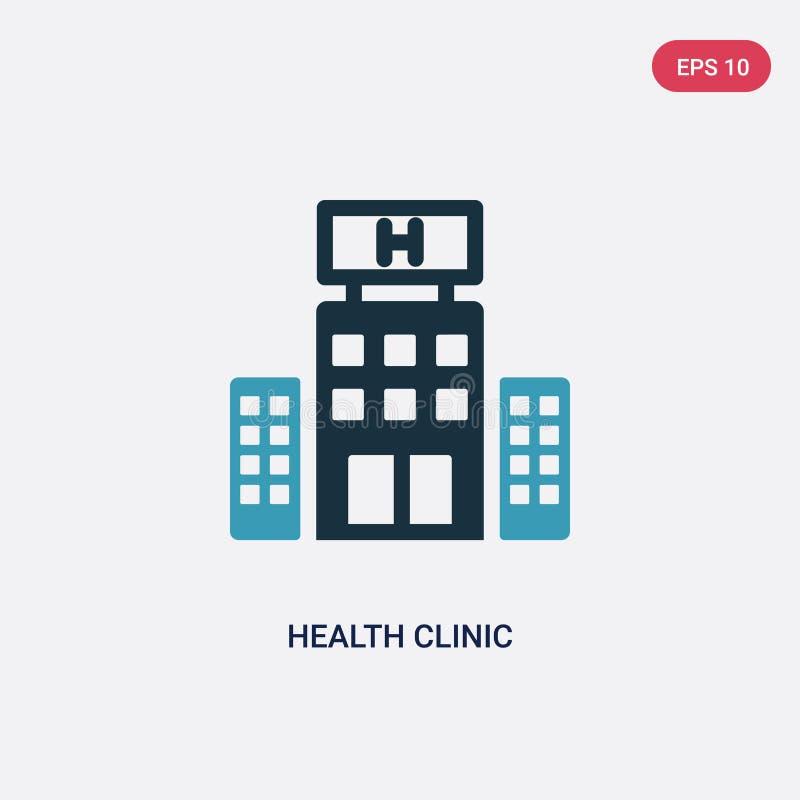 Icône de vecteur de clinique de santé de deux couleurs de concept politique le symbole bleu d'isolement de signe de vecteur de cl illustration stock