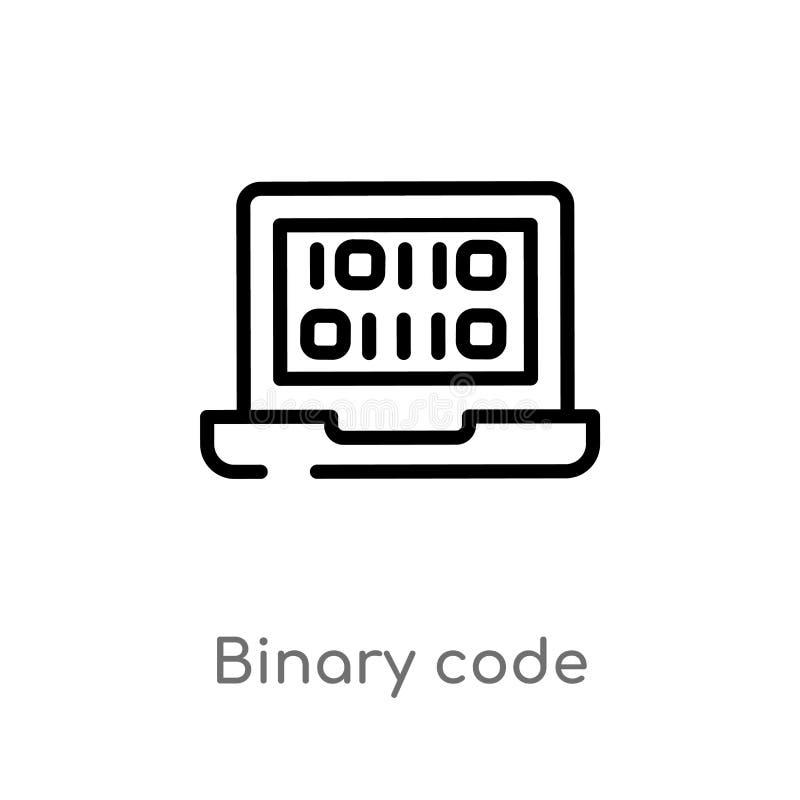 icône de vecteur de code binaire d'ensemble ligne simple noire d'isolement illustration d'?l?ment de concept d'intelligence artif illustration libre de droits