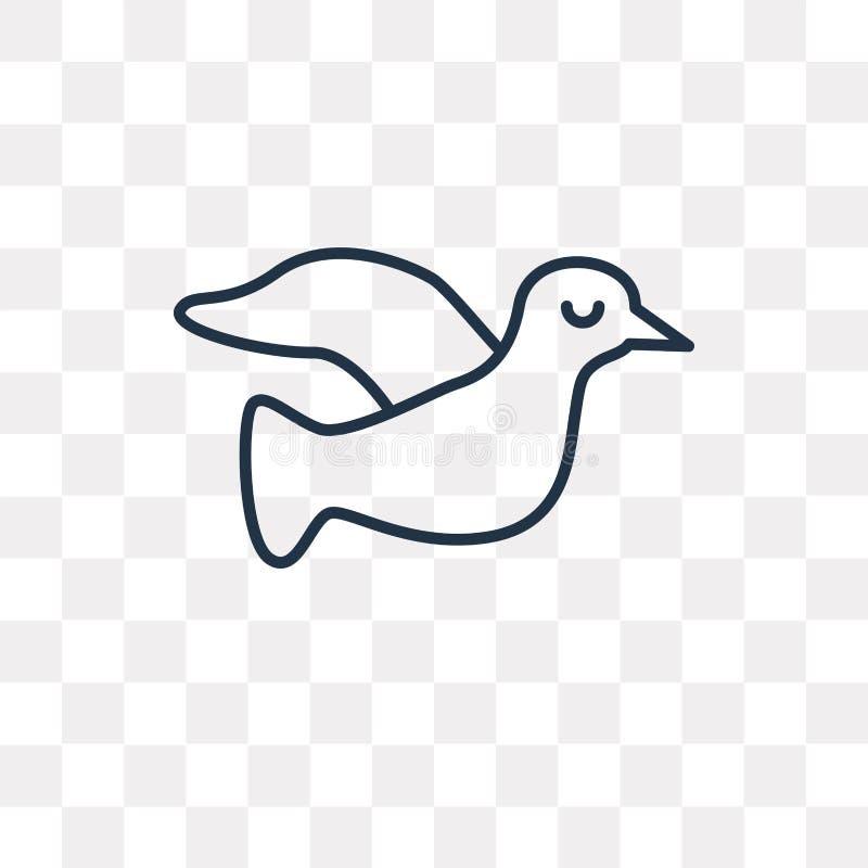 Icône de vecteur de colombe d'isolement sur le fond transparent, colombe linéaire illustration de vecteur