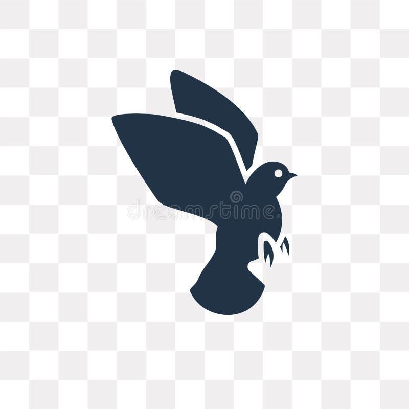Icône de vecteur de colombe d'isolement sur le fond transparent, transport de colombe illustration de vecteur