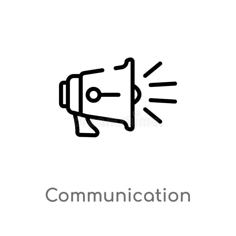 icône de vecteur de communication d'ensemble ligne simple noire d'isolement illustration d'?l?ment de concept de blogger et d'inf illustration de vecteur