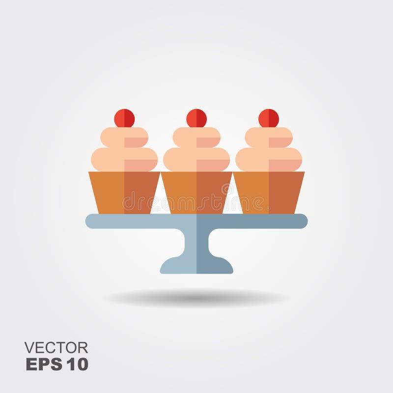 Icône de vecteur de confiserie Petits gâteaux avec des baies sur le support illustration de vecteur