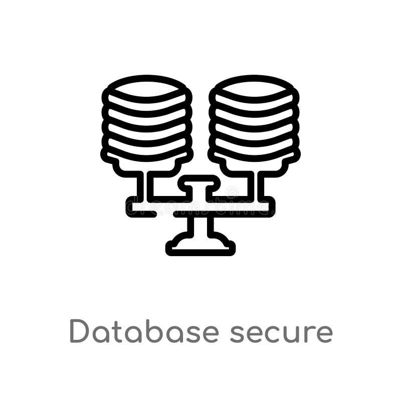 icône de vecteur de connexion sécurisée de base de données d'ensemble ligne simple noire d'isolement illustration d'élément de co illustration de vecteur