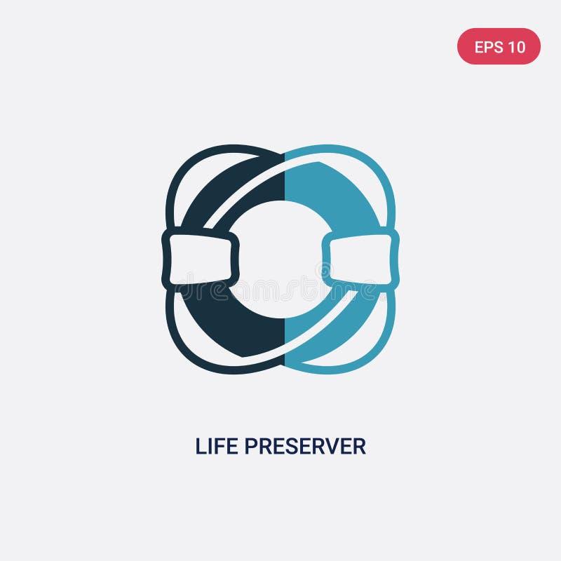 Icône de vecteur de conservateur de vie de deux couleurs de concept nautique le symbole bleu d'isolement de signe de vecteur de c illustration de vecteur