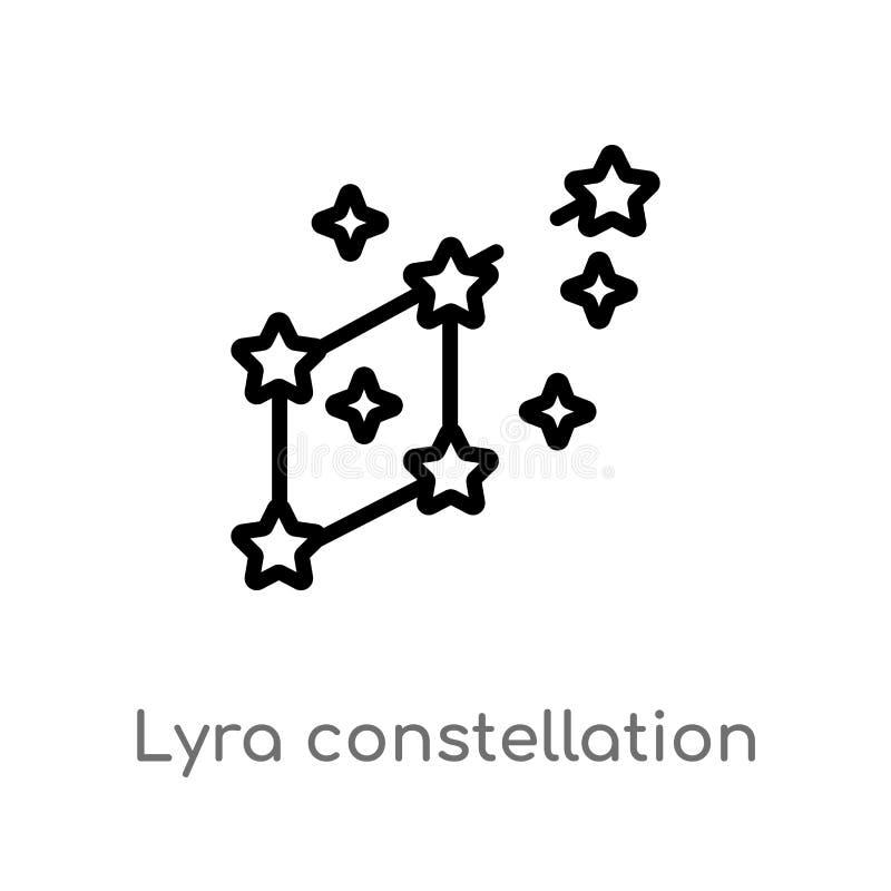 ic?ne de vecteur de constellation de lyra d'ensemble ligne simple noire d'isolement illustration d'?l?ment de concept d'astronomi illustration stock