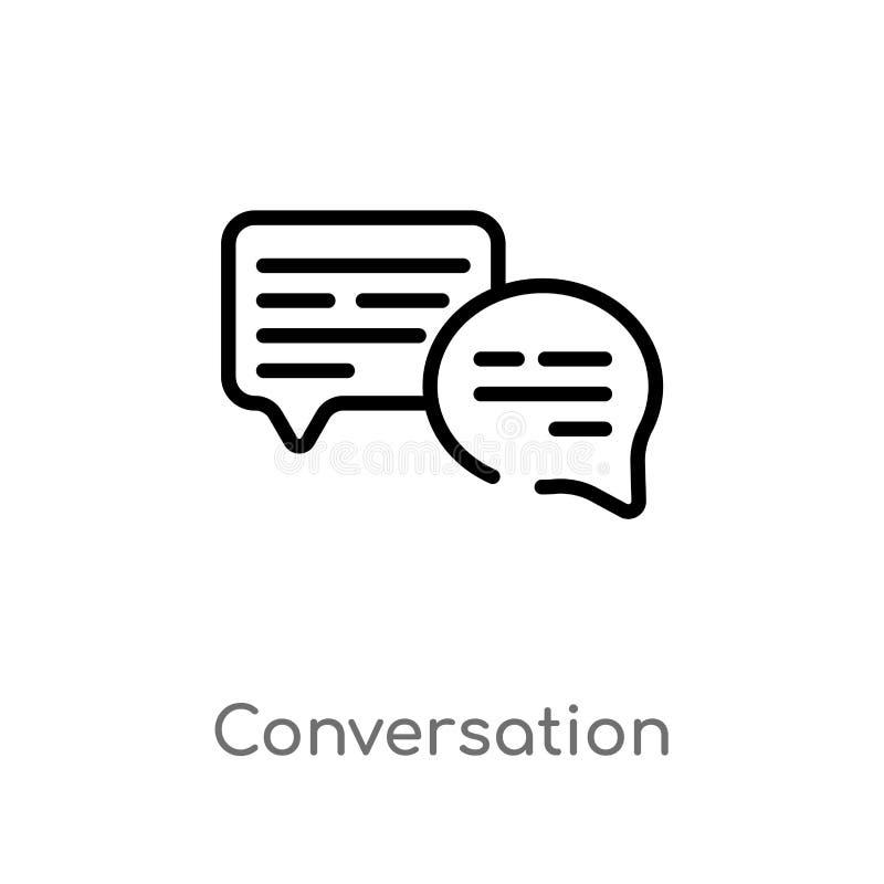 icône de vecteur de conversation d'ensemble ligne simple noire d'isolement illustration d'élément de concept de blogger et d'infl illustration de vecteur