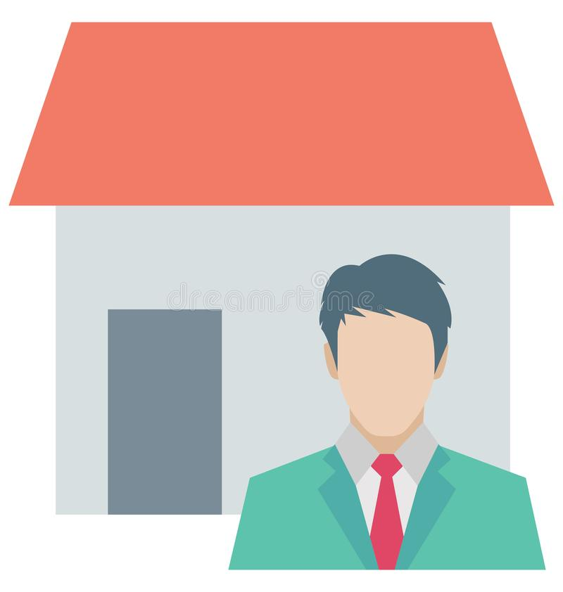 Icône de vecteur de couleur d'agent immobilier qui peut être facilement modifiée ou éditée illustration libre de droits