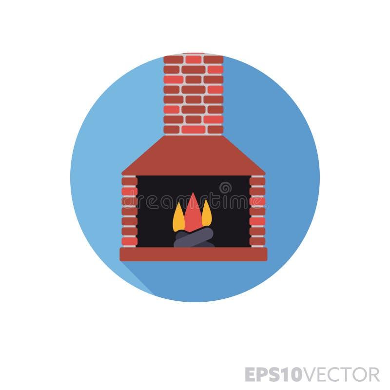 Icône de vecteur de couleur d'ombre de conception plate de cheminée ouverte longue illustration libre de droits