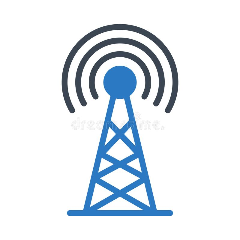 Icône de vecteur de couleur de glyph d'antenne illustration de vecteur