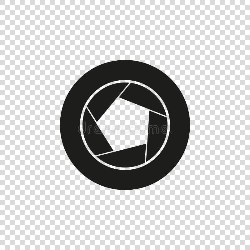 icône de vecteur de couleur de noir de diaphragme de caméra illustration stock