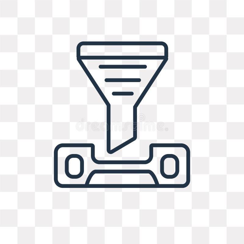 Icône de vecteur de courrier d'isolement sur le fond transparent, courrier linéaire illustration de vecteur