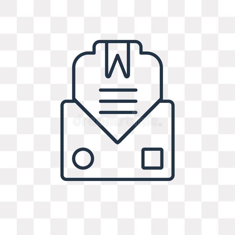 Icône de vecteur de courrier d'isolement sur le fond transparent, courrier linéaire illustration stock
