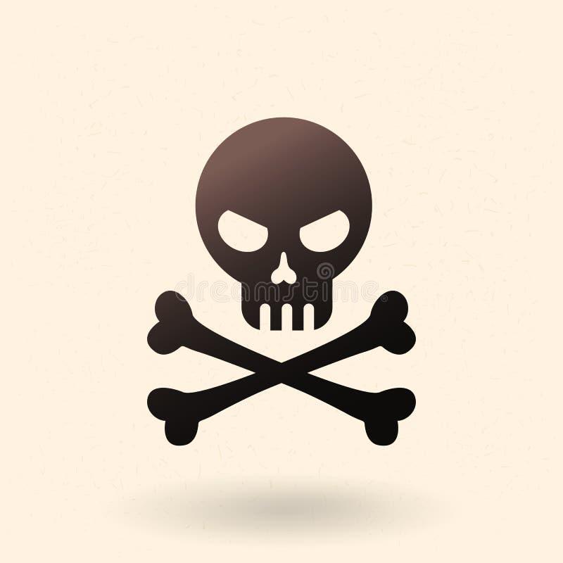 Icône de vecteur - crâne avec les os croisés Pirate le symbole illustration libre de droits