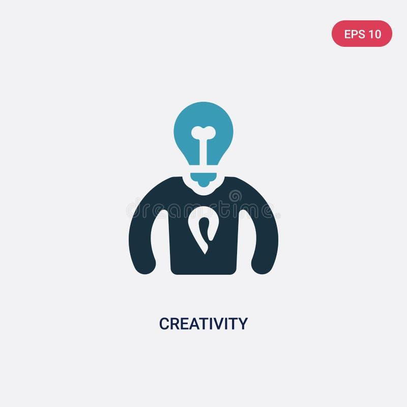 Icône de vecteur de créativité de deux couleurs de concept de qualifications de personnes le symbole bleu d'isolement de signe de illustration de vecteur
