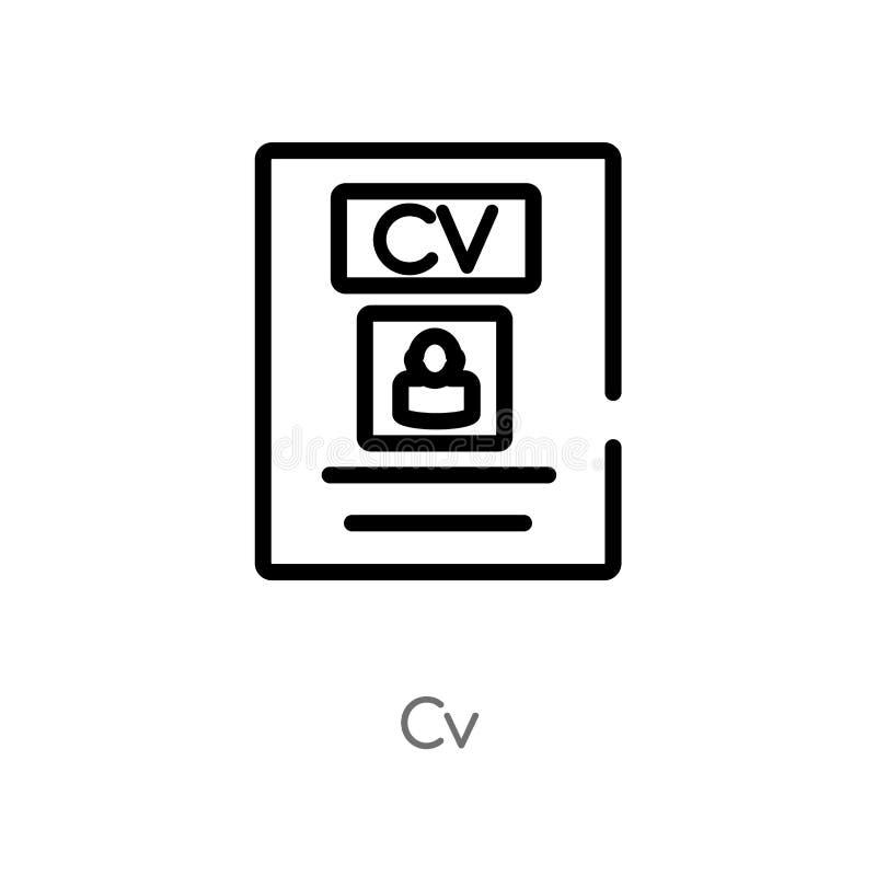 icône de vecteur de cv d'ensemble ligne simple noire d'isolement illustration d'?l?ment de concept de r?sum? du travail icône edi illustration stock