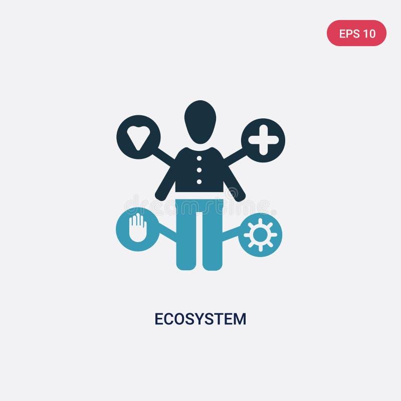 Icône de vecteur d'écosystème de deux couleurs de concept de personnes le symbole bleu d'isolement de signe de vecteur d'écosystè illustration stock