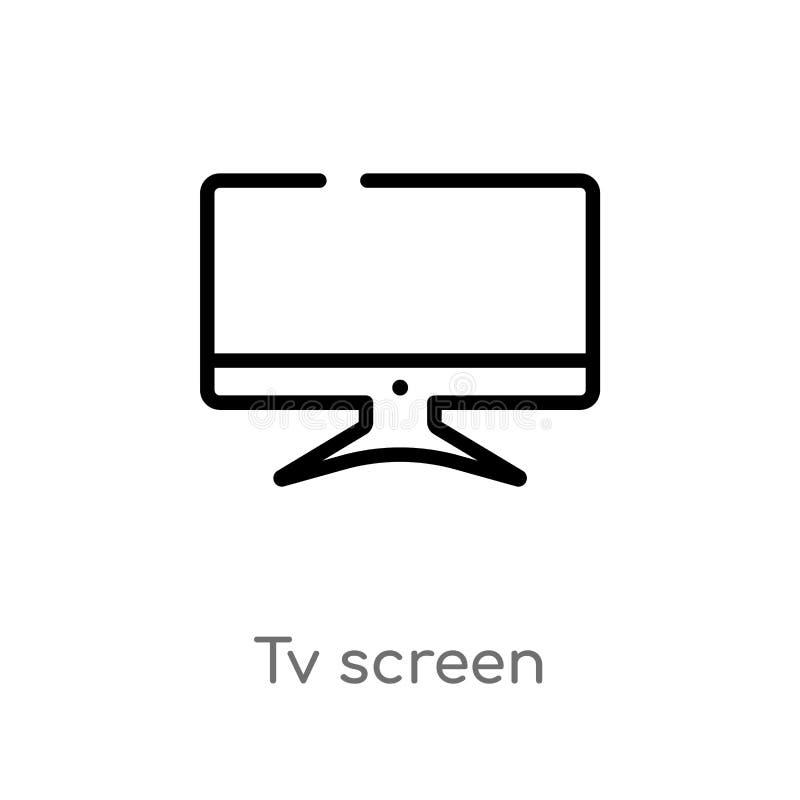 icône de vecteur d'écran d'ensemble TV ligne simple noire d'isolement illustration d'?l?ment de concept d'ordinateur course edita illustration de vecteur