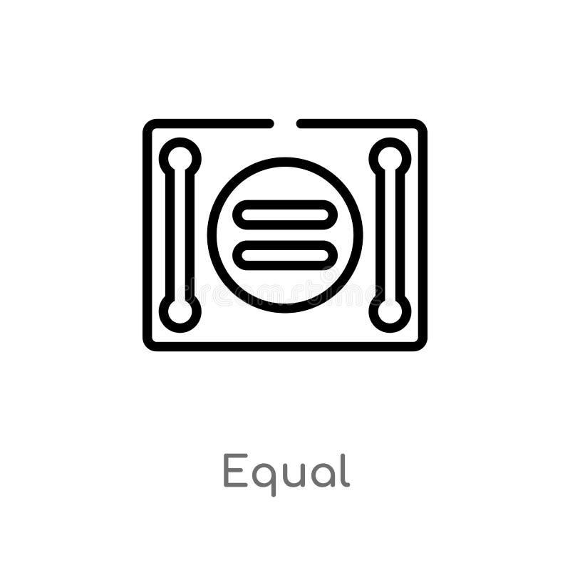 icône de vecteur d'égal d'ensemble ligne simple noire d'isolement illustration d'élément de concept de signes icône editable d'ég illustration de vecteur