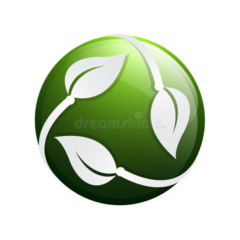 icône de vecteur d'élément de nature d'écologie de feuille de vert du cercle 3D lo de feuille illustration de vecteur