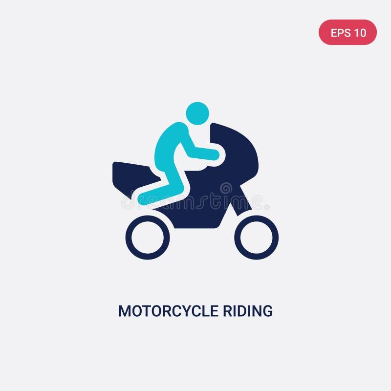 icône de vecteur d'équitation de moto de deux couleurs d'activité et de concept de passe-temps le symbole bleu d'isolement de sig illustration stock