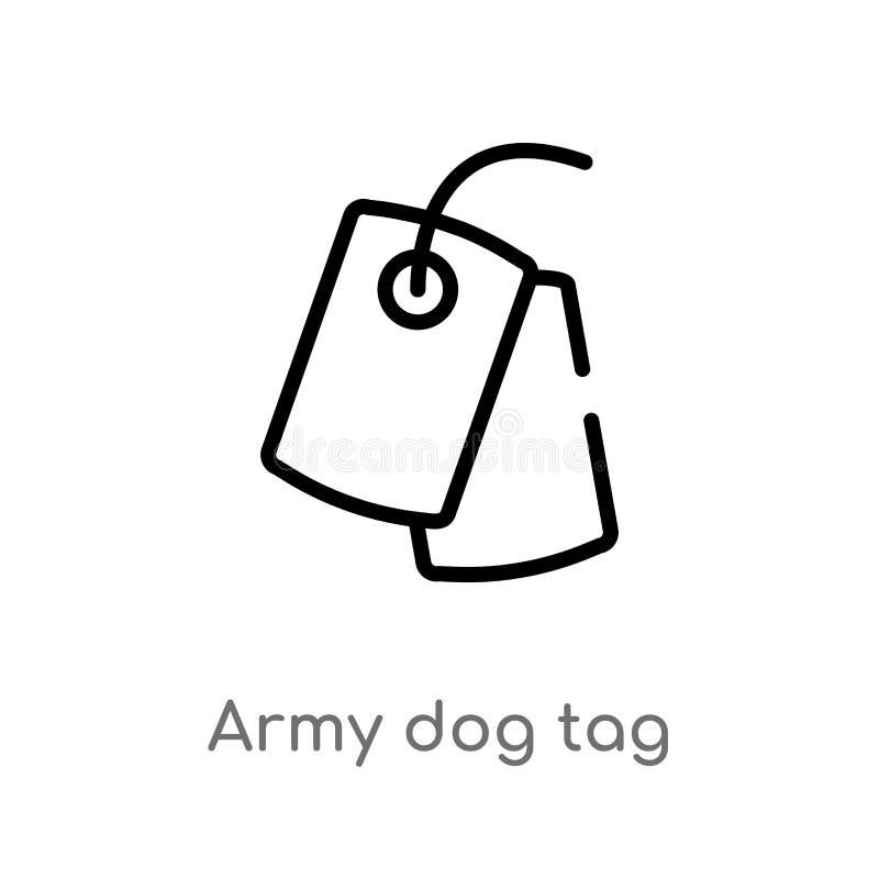 icône de vecteur d'étiquette de chien d'armée d'ensemble r Vecteur Editable illustration de vecteur