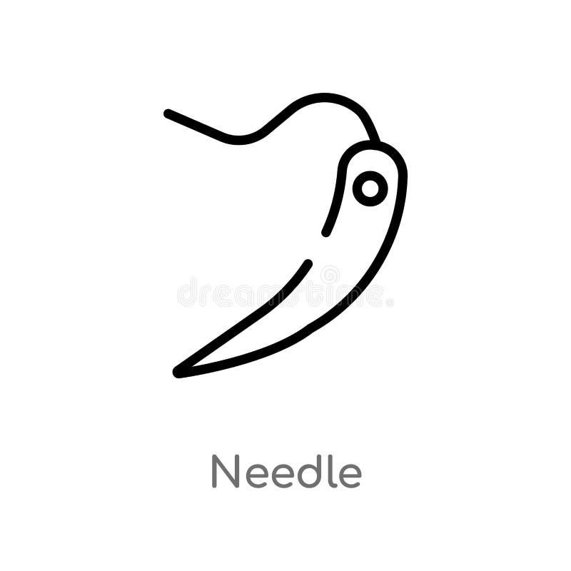 icône de vecteur d'aiguille d'ensemble ligne simple noire d'isolement illustration d'élément de concept d'âge de pierre aiguille  illustration libre de droits