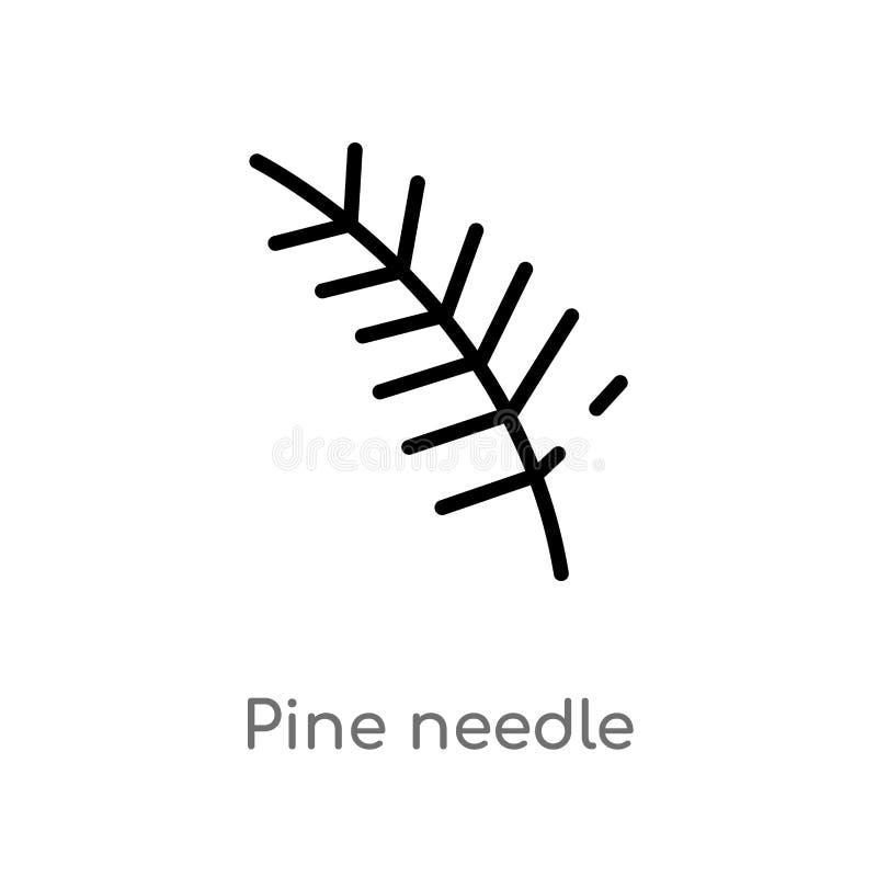 ic?ne de vecteur d'aiguille de pin d'ensemble ligne simple noire d'isolement illustration d'?l?ment de concept de nature pin edit illustration libre de droits