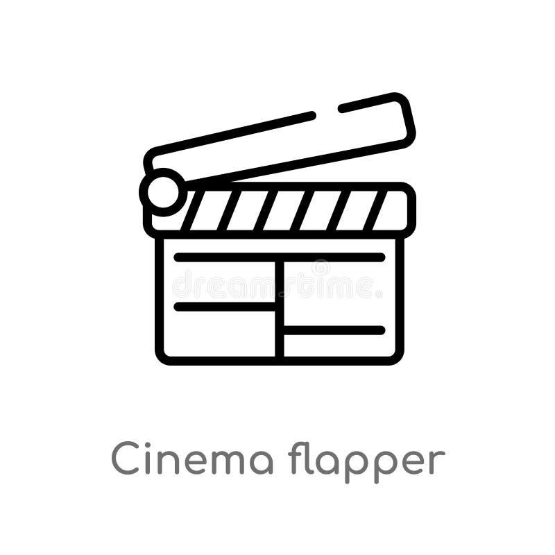 icône de vecteur d'aileron de cinéma d'ensemble ligne simple noire d'isolement illustration d'?l?ment de concept de cin?ma Course illustration de vecteur