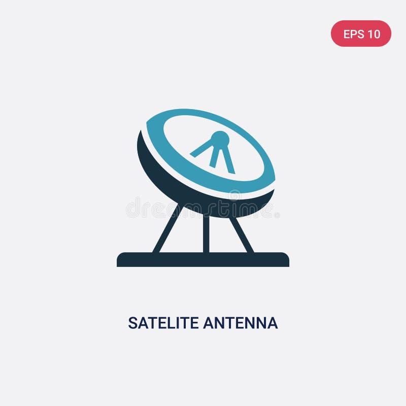 Icône de vecteur d'antenne de satellite de deux couleurs de l'autre concept le symbole bleu d'isolement de signe de vecteur d'ant illustration de vecteur