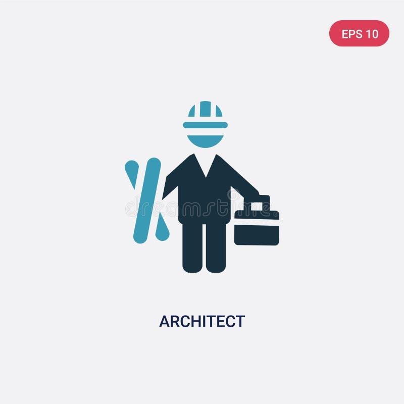 Icône de vecteur d'architecte de deux couleurs de concept de personnes le symbole bleu d'isolement de signe de vecteur d'architec illustration libre de droits