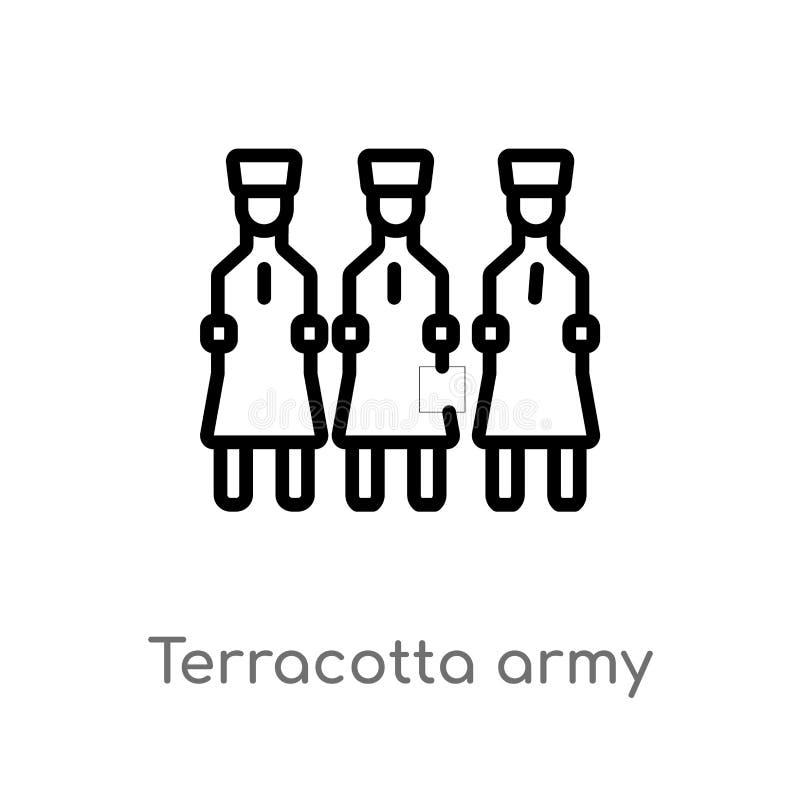 icône de vecteur d'armée de terre cuite d'ensemble ligne simple noire d'isolement illustration d'?l?ment de concept de cultures C illustration stock