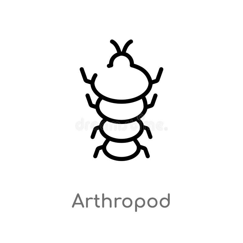 ic?ne de vecteur d'arthropode d'ensemble ligne simple noire d'isolement illustration d'?l?ment de concept d'?ge de pierre Course  illustration de vecteur