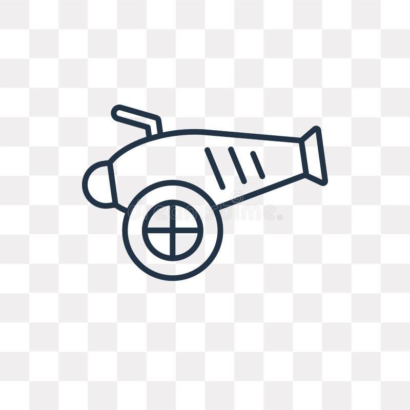 Icône de vecteur d'artillerie d'isolement sur le fond transparent, linéaire illustration libre de droits