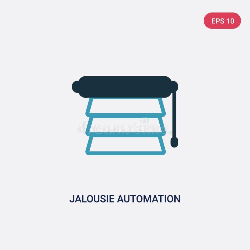 Icône de vecteur d'automation de jalousie de deux couleurs de concept à la maison futé le symbole bleu d'isolement de signe de ve illustration stock