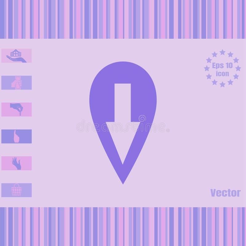 Icône de vecteur d'emplacement avec la flèche à tiret image stock