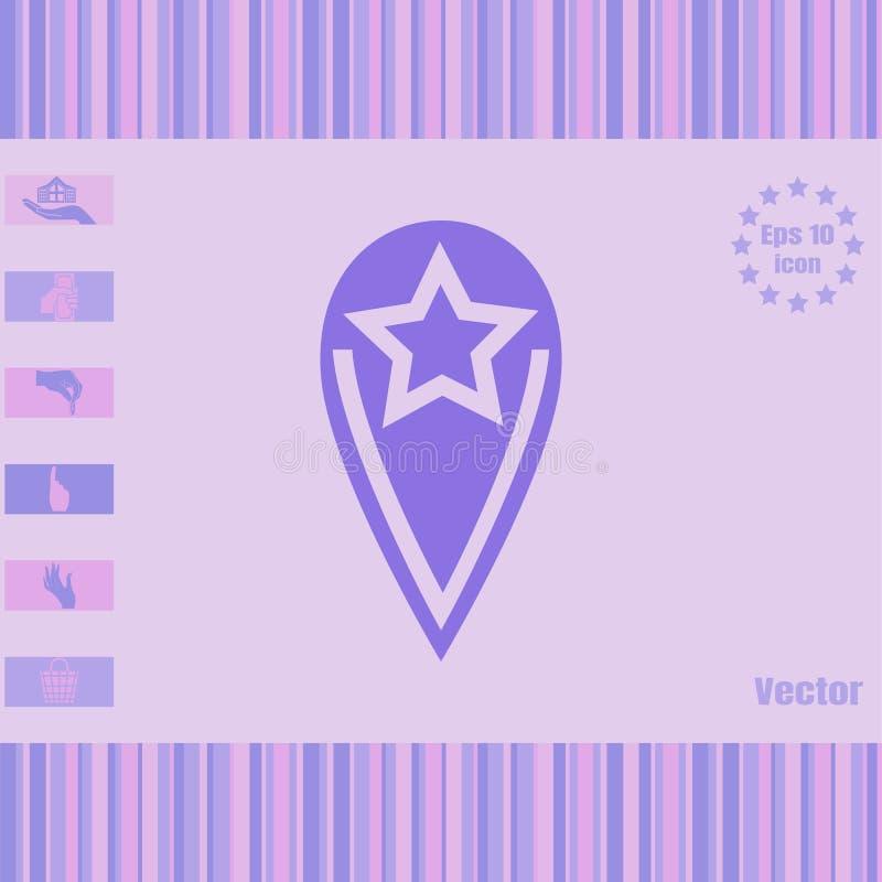 Icône de vecteur d'emplacement avec une grande étoile image stock
