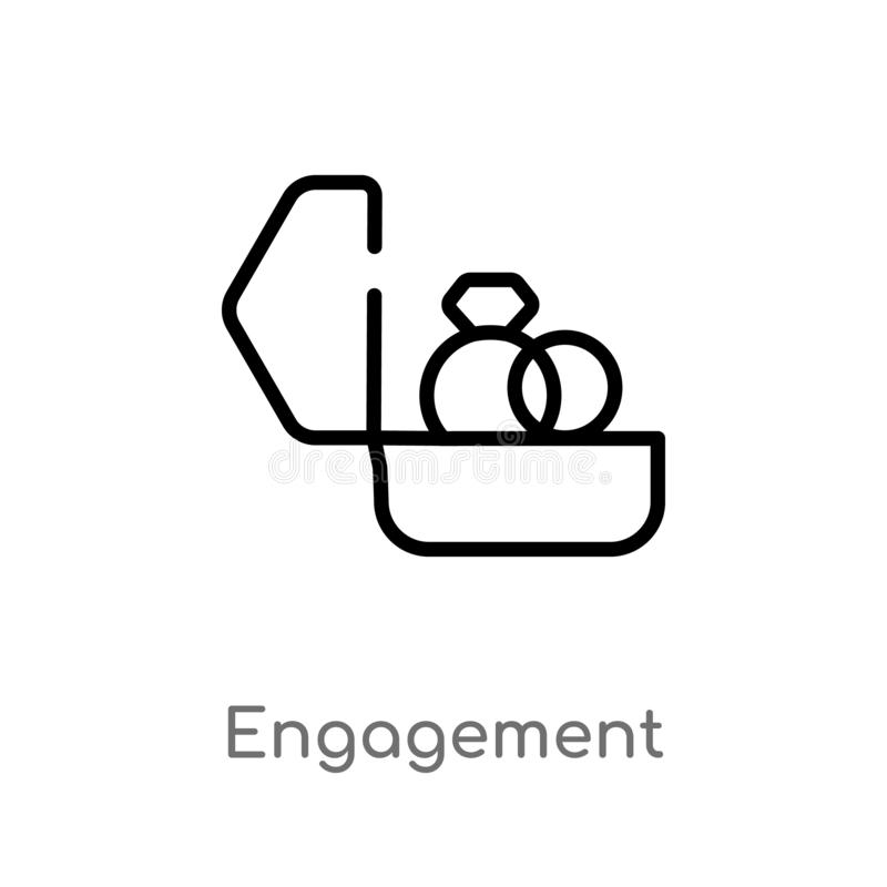 icône de vecteur d'engagement d'ensemble ligne simple noire d'isolement illustration d'élément de concept de bijoux Course Editab illustration stock