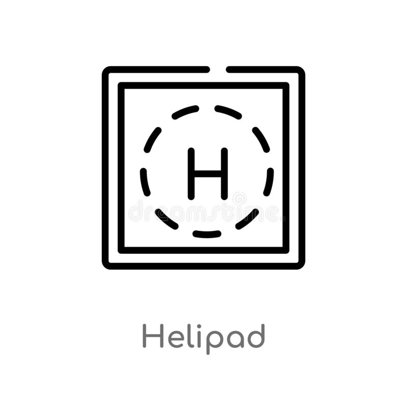 icône de vecteur d'héliport d'ensemble ligne simple noire d'isolement illustration d'?l?ment de concept vigilant héliport editabl illustration libre de droits