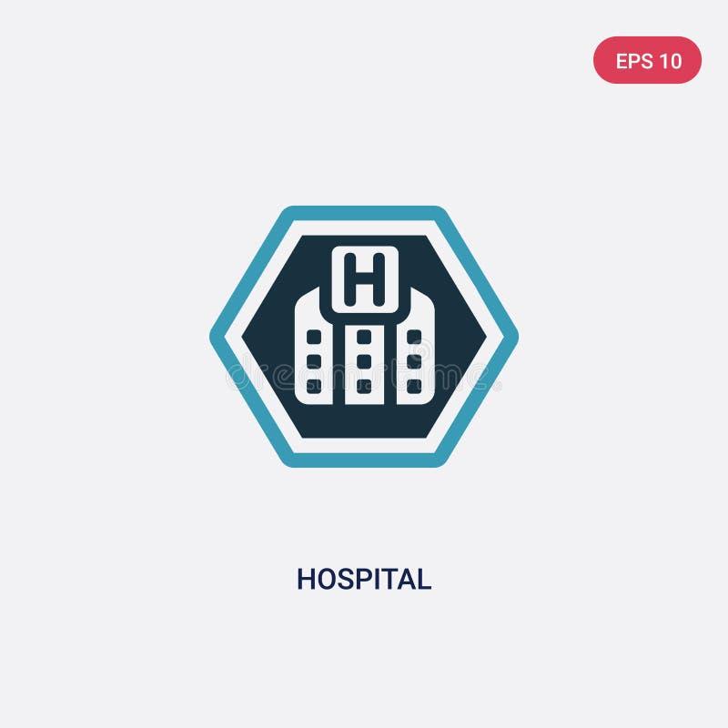 Icône de vecteur d'hôpital de deux couleurs de concept de signes le symbole bleu d'isolement de signe de vecteur d'hôpital peut ê illustration de vecteur