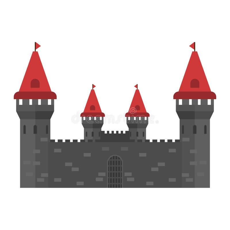 Icône de vecteur d'histoire de pierre de château Concept extérieur de ville de monument médiéval extérieur d'imagination illustration libre de droits