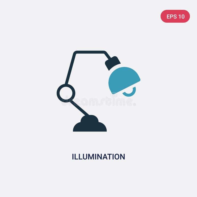 Icône de vecteur d'illumination de deux couleurs de concept à la maison futé le symbole bleu d'isolement de signe de vecteur d'il illustration libre de droits